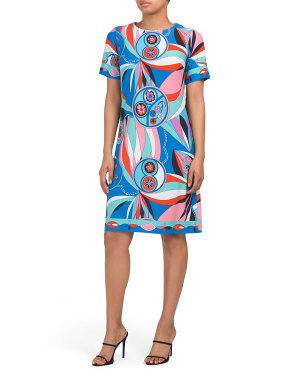 Short Sleeve Printed Shift Dress