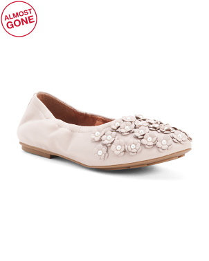 Comfort Ballet Leather Flats With Flowers