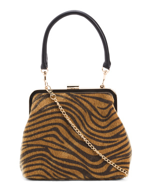 Cheetah Framed Bag With Detachable Chain Strap
