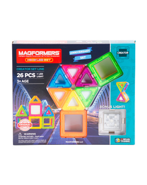26pc Neon Magnetic Construction Set With Bonus Light
