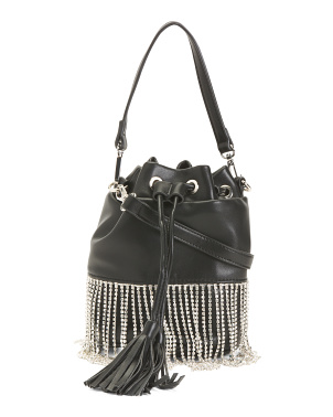 Crystal Fringe Draw String Bucket Bag
