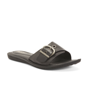 Leather Comfort Flat Slides