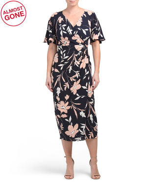 Floral Midi Faux Wrap Dress