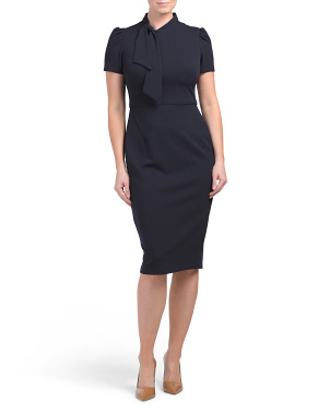 Tie Neck Short Sleeve Sheath Dress