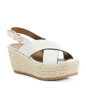 Slingback Comfort Leather Espadrille Sandals