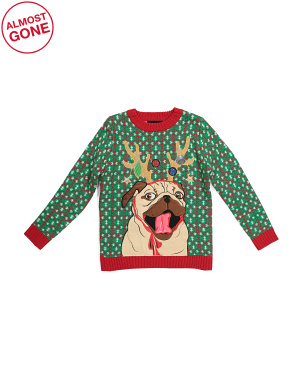 Big Boys Reindeer Pug Ugly Christmas Sweater