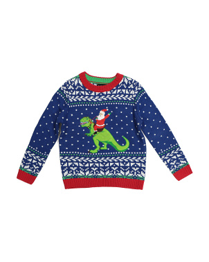 Big Boys Santa T Rex Ugly Christmas Sweater