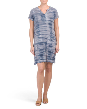 Raglan Short Sleeve Tie Dye Dress