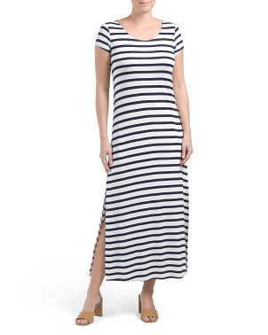 Scoop Neck Cap Sleeve Maxi Dress