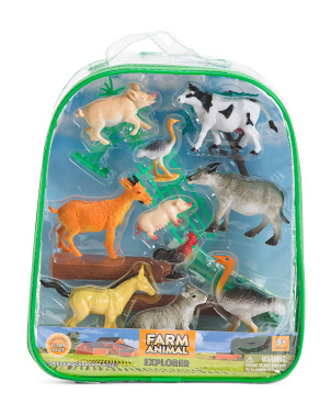 15pc Farm Animal Explorer Backpack Playset