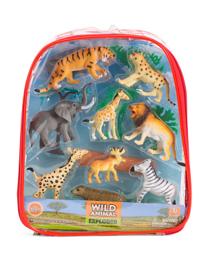 15pc Wild Animal Explorer Backpack Playset