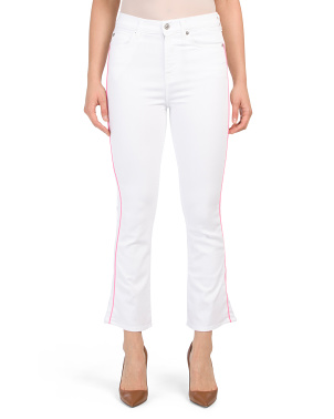 High Waist Slim Kick Jeans With Neon Piping