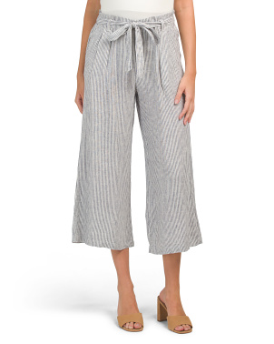 Linen Paper Bag Tie Waist Cropped Trousers