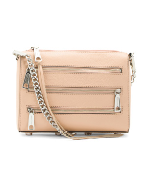 Pebbled Leather Zip Crossbody