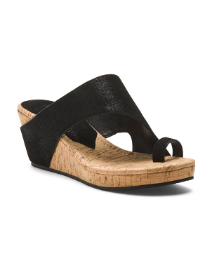 Distressed Suede Wedge Sandals