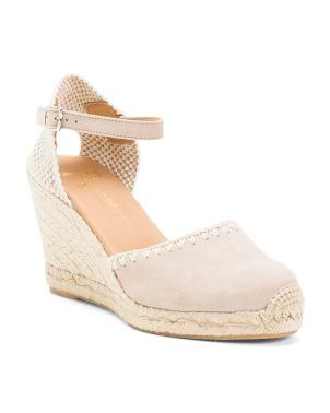 Made In Spain Embroidered Suede Espadrille Wedges