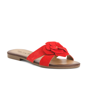 Made In Italy Suede Flower Slide Sandals