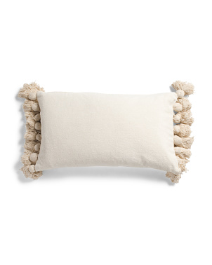 14x24 Natural Soft Chenille Large Tassel Pillow