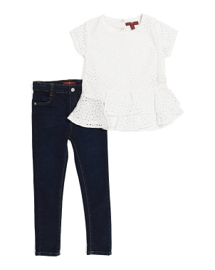 Little Girls 2pc Eyelet Denim Set
