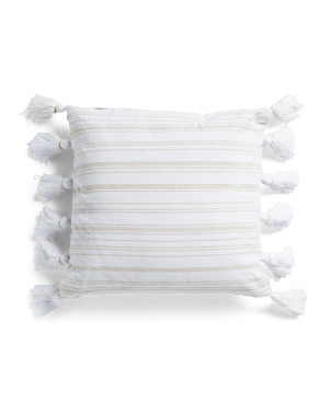 18x18 Striped Tassel Pillow