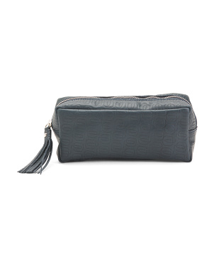 Made In Italy Leather Printed Pouch