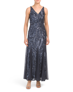 Petite Beaded V-neck Sleeveless Gown