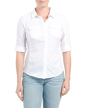 Juniors Button-down Collared Shirt