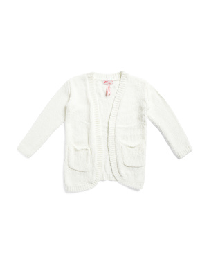 Big Girls Chenille Open Cardigan