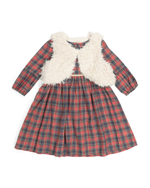 Toddler Girls Plaid Dress And Vest Set