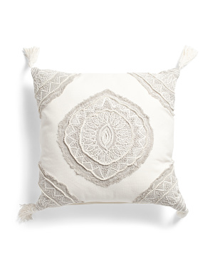 22x22 Damask Tassle Pillow