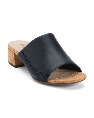 Comfort Block Heel Slide Leather Sandals