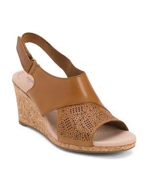 Leather Cork Wedge Comfort Sandals