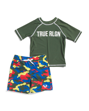 Toddler Boys Rashguard Camo Swim Set