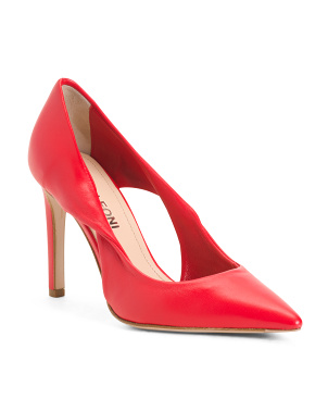 Made In Italy Leather Pumps With Cutouts
