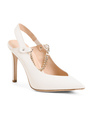 Made In Italy Leather Slingback Pumps With Chain Detail