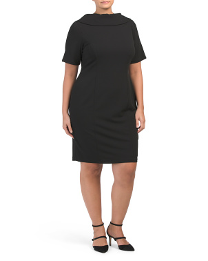 Plus Roll Neck Sheath Dress
