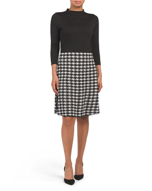 Houndstooth Fit N Flare Sweater Dress