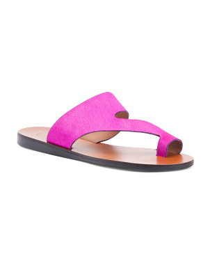 Made In Italy Haircalf Toe Ring Sandals