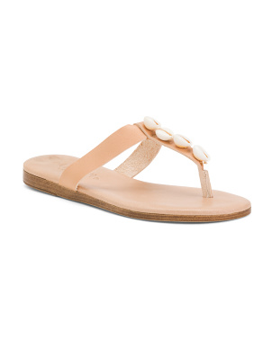 Made In Italy Flat Sandals With Shell Details