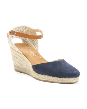Made In Spain Classic Suede Espadrille Wedges