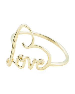 Made In Italy 14k Gold Script Love Heart Ring