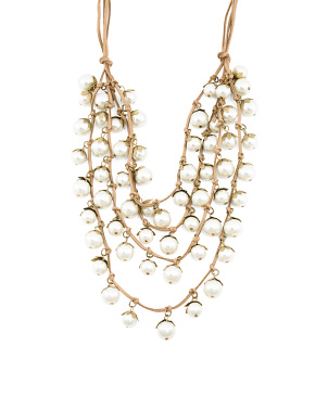 4 Row Suede Pearl Necklace