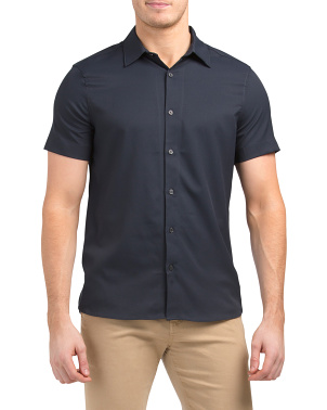 Short Sleeve Slim Solid Total Stretch Shirt