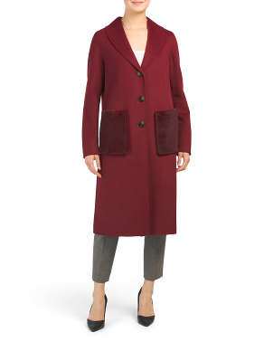 Wool Blend Coat With Removable Faux Fur Pockets