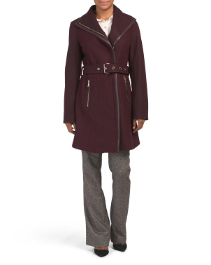 Boucle Wool Blend Faux Leather Trim Belted Coat