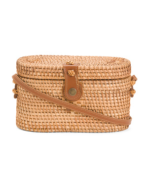 Lid Camera Rattan Crossbody