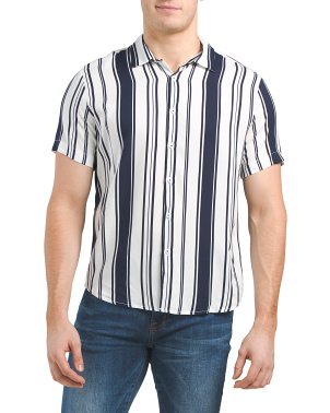 Short Sleeve Stripe Viscose Woven Shirt