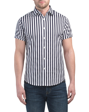 Vertical Stripe  Short Sleeve Shirt