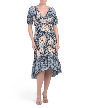 Mixed Print Surplice Hi-lo Midi Dress