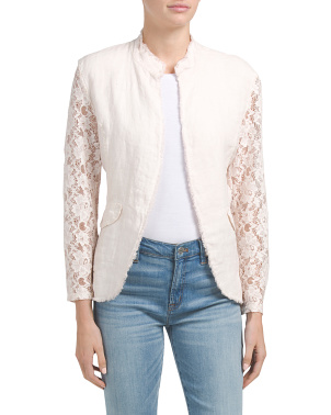 Made In Italy Linen Lace Sleeve Jacket